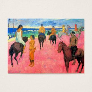 Fauvist painting Gauguin horse art riders on beach Business Card