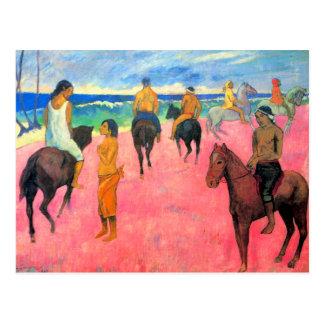 Fauvist painting Gauguin horse art riders on beach Postcard