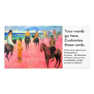 Fauvist que pinta a jinetes del arte del caballo d tarjeta fotográfica personalizada