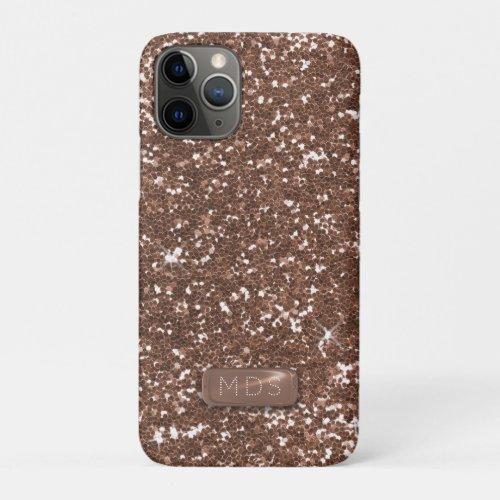 Faux 3D Monogram Rose Gold Glitter Phone Case