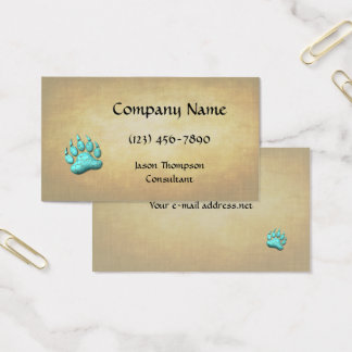 Faux 3D Turquoise Bear Claw Business Card