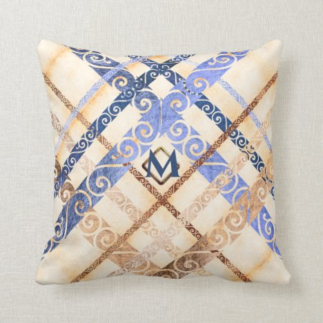 Faux aged gold foil flourish plaid monogram throw pillow