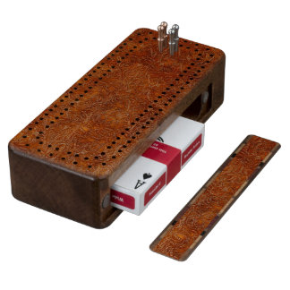 Faux Aged Western Tooled-Leather Cribbage Board 4 Walnut Cribbage Board