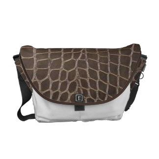 Faux Alligator Leather Print Messenger Bag