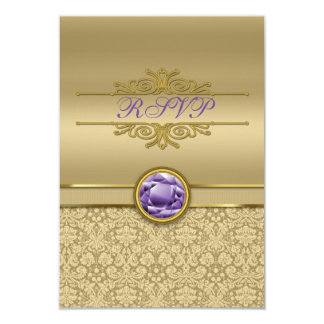 Faux Amethyst Gemstone Metallic Shiny Gold Damask Card