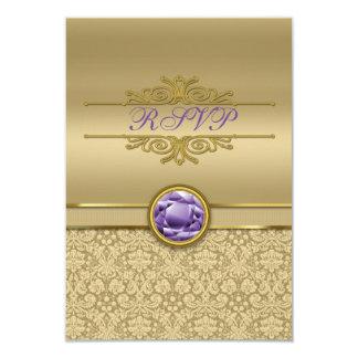 Faux Amethyst Gemstone Metallic Shiny Gold Damask Card