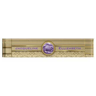 Faux Amethyst Gemstone Metallic Shiny Gold Damask Desk Name Plate