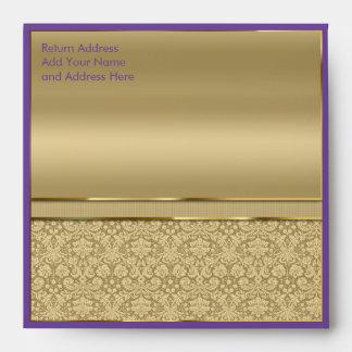 Faux Amethyst Gemstone Metallic Shiny Gold Damask Envelope