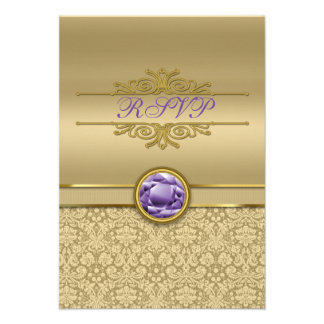 Faux Amethyst Gemstone Metallic Shiny Gold Damask Announcements