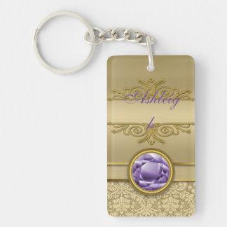 Faux Amethyst Gemstone Metallic Shiny Gold Damask Double-Sided Rectangular Acrylic Keychain