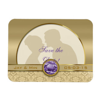 Faux Amethyst Gemstone Metallic Shiny Gold Damask Magnet