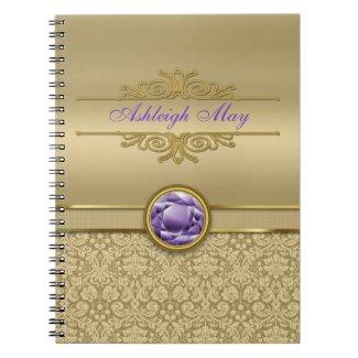 Faux Amethyst Gemstone Metallic Shiny Gold Damask Spiral Notebooks