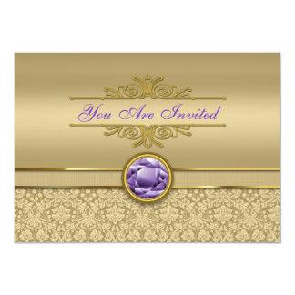 Faux Amethyst Gemstone Shiny Metallic Gold Damask Card