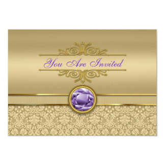 Faux Amethyst Gemstone Shiny Metallic Gold Damask Card