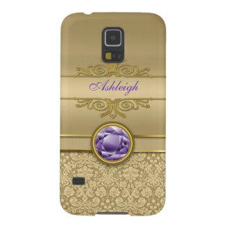 Faux Amethyst Gemstone Shiny Metallic Gold Damask Galaxy S5 Covers