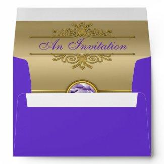 Faux Amethyst Gemstone Shiny Metallic Gold Damask Envelopes