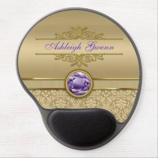 Faux Amethyst Gemstone Shiny Metallic Gold Damask Gel Mousepads