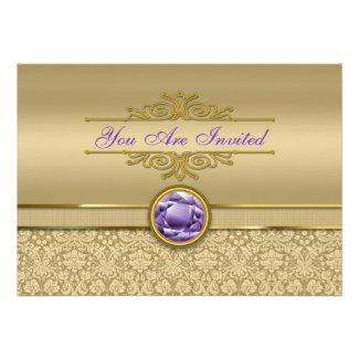 Faux Amethyst Gemstone Shiny Metallic Gold Damask Personalized Invitations