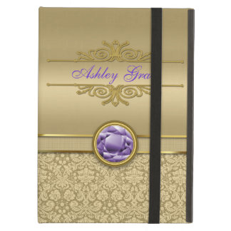 Faux Amethyst Gemstone Shiny Metallic Gold Damask Case For iPad Air