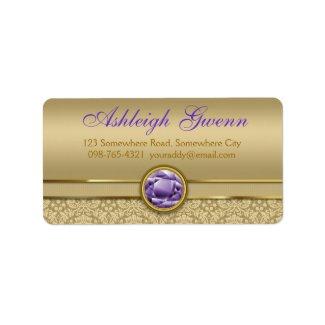 Faux Amethyst Gemstone Shiny Metallic Gold Damask Address Label