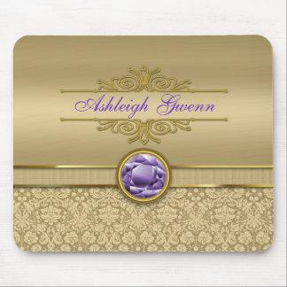Faux Amethyst Gemstone Shiny Metallic Gold Damask Mouse Pad