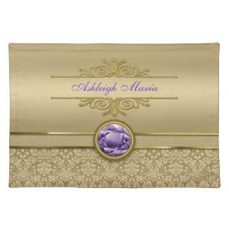 Faux Amethyst Gemstone Shiny Metallic Gold Damask Placemat