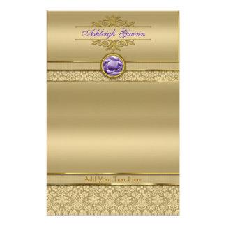 Faux Amethyst Gemstone Shiny Metallic Gold Damask Stationery