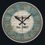 """Faux antique Chic rustic blue wood custom design Large Clock<br><div class=""""desc"""">Faux rustic wood design</div>"""