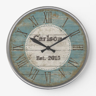 Faux antique Chic rustic blue wood custom design Large Clock