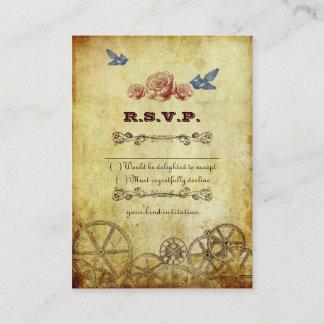 Faux Antique Gold Victorian Steampunk Wedding Enclosure Card