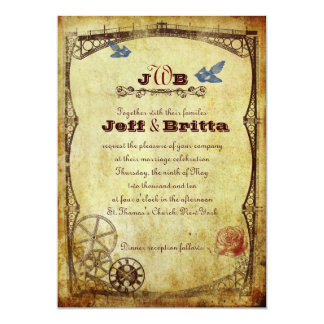 Faux Antique Gold Victorian Steampunk Wedding Invitation