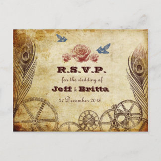 Faux Antique Gold Victorian Steampunk Wedding Invitation Postcard