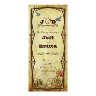 Faux Antique Gold Victorian Steampunk Wedding Rack Card
