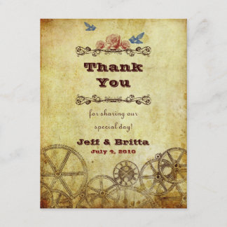 Faux Antique Gold Victorian Steampunk Wedding Thank You Card
