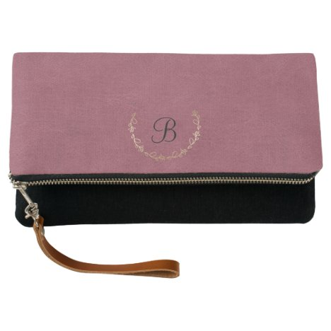 Faux antique pink leather with monogram clutch