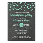 Faux Aqua Glitter Chalkboard Bachelorette Party Card
