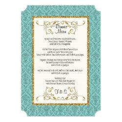 Faux Aqua Gold Glitter Damask Ticket Style Invite 5