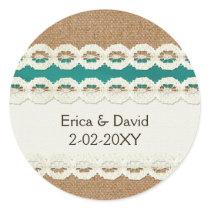 FAUX aqua lace and burlap , wedding seals