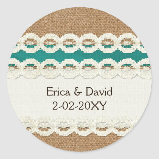 FAUX aqua lace and burlap , wedding seals Classic Round Sticker