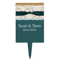 FAUX aqua lace burlap personalized cake pick