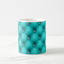 FAUX Aqua quilted leather, diamante Coffee Mug