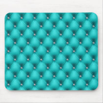 FAUX Aqua quilted leather, diamante Mouse Pad