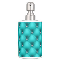 FAUX Aqua quilted leather, diamante Soap Dispenser And Toothbrush Holder