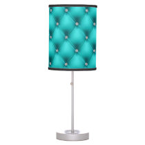 FAUX Aqua quilted leather, diamante Table Lamp
