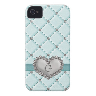 Faux Aqua Quilted Rhinestone Heart BlackBerry Bold iPhone 4 Cases