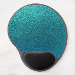 """Faux Aqua Teal Turquoise Blue Glitter Background Gel Mouse Pad<br><div class=""""desc"""">Use our cool template, artwork, photo, graphic, or illustration, then add a name, text, quote, or monogram to create your own custom or monogrammed &#160;computer mouse pad with wrist rest. Click the &quot;Customize it!&quot; button to make it totally customized. These mouse pads are great gifts for men, women, and kids...</div>"""