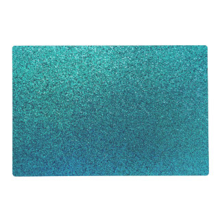 Faux Aqua Teal Turquoise Blue Glitter Background Placemat