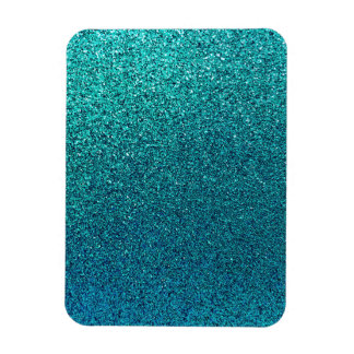 Faux Aqua Teal Turquoise Blue Glitter Background Rectangular Photo Magnet