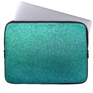 Faux Aqua Teal Turquoise Blue Glitter Background S Laptop Sleeve