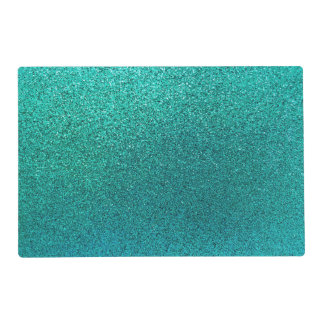 Faux Aqua Teal Turquoise Blue Glitter Background S Placemat
